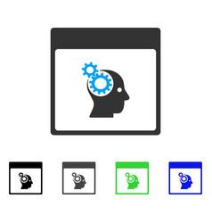 Brain wheels calendar page flat icon vector