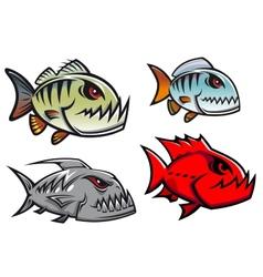 Cartoon colorful pirhana fish characters vector