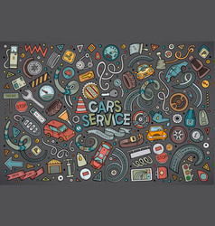 cartoon set of automobile objects vector image