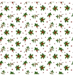 Christmas berry decoration seamless pattern vector image