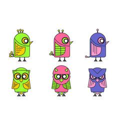 colorful bird icon set vector image vector image