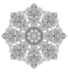 Contour mandala for anti-stress coloring book vector