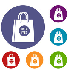 Duty free shopping bag icons set vector