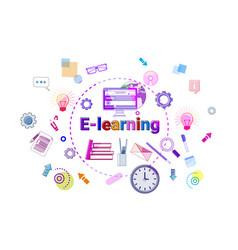 E-learning banner online education elearning vector