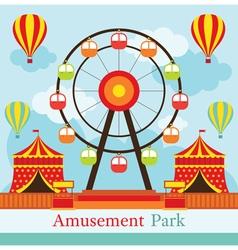 Ferris wheel amusement park carnival fun fair vector