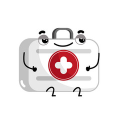First aid kit cute cartoon character vector
