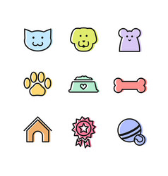 flat outline pets icon set for ui or web design vector image