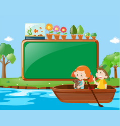 Frame design with kids rowing boat vector
