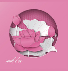 greeting card with cut round frame lotus flowers vector image vector image
