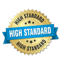 High standard 3d gold badge with blue ribbon vector