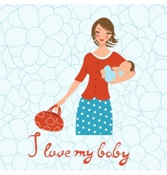 I love mybaby Concept card withbeautiful young vector image vector image