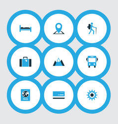 Journey icons colored set with autobus sunny vector