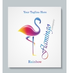 Luxury image logo rainbow flamingo business vector