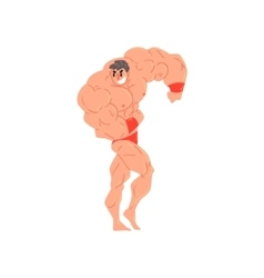 Man in red briefs and wristlets bodybuilder funny vector