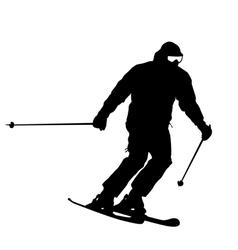 Mountain skier speeding down slope sport silhouett vector