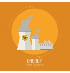 Nuclear power energy plant building vector
