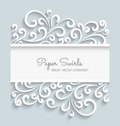 Paper swirls frame vector image vector image