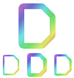 Rainbow line d logo design set vector image