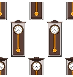 Seamless pattern with interior grandfather clock vector