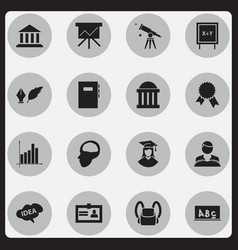 set of 16 editable university icons includes vector image vector image