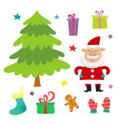 set with santa claus christmas tree and vector image