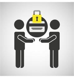 Silhouette men card bank internet safety vector