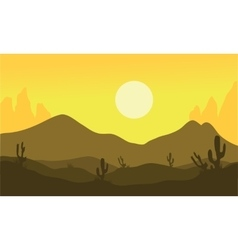 Silhouette of desert and cactus vector