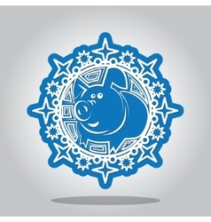 Snowflake of the Pig on the Chinese zodiac vector image vector image