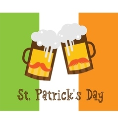 St patricks day hipster beer glasses over irish vector