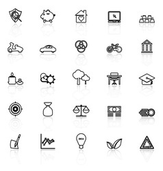 Sufficient economy line icons with reflect on vector image vector image
