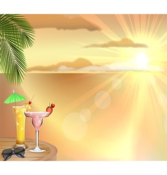 Sunset background with drinks vector