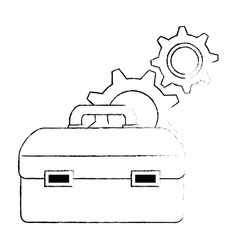 tool box with gears vector image