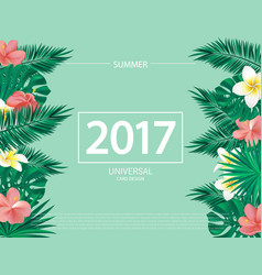Trendy summer banner poster with tropical flowers vector