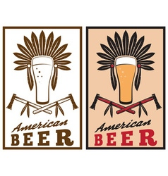 Vintage emblem of american beer with native vector