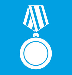 Winning medal icon white vector