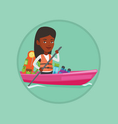 woman riding in kayak vector image