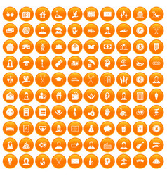 100 philanthropy icons set orange vector