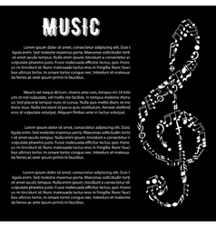 Music arts banner with treble clef and notes vector
