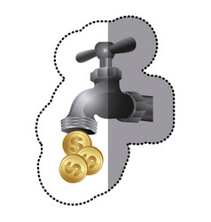 silver faucet with coins save water vector image