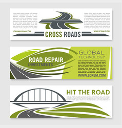 Road highway crossroad and bridge banner set vector