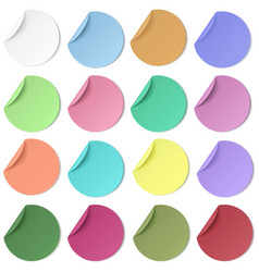 Set of pastel color round paper sticker with edge vector