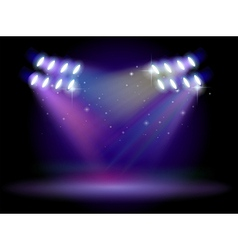 An empty stage with lights vector