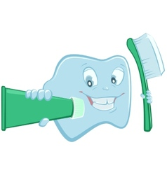 Tooth holds toothpaste and toothbrush vector