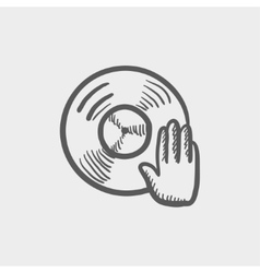 Vinyl disc with dj hand sketch icon vector