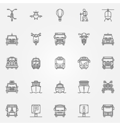 Transport linear icons vector
