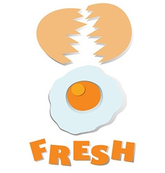 Cracking fresh egg with wording vector