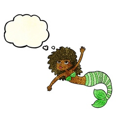 cartoon pretty mermaid waving with thought bubble vector image