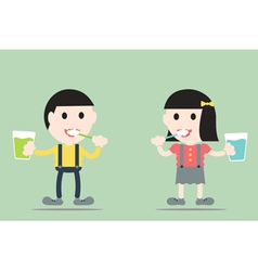 Boy and girl are brush the teeth vector