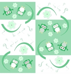 Cute seamless flower owl background pattern vector