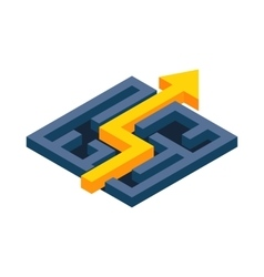 Yellow path with arrow across labyrinth icon vector